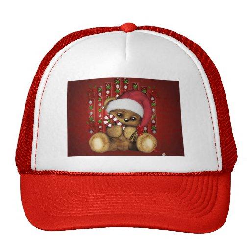 Oso de peluche de Santa con el bastón de caramelo Gorras De Camionero