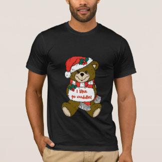 Oso de peluche de Santa con el gorra y el manguito Camiseta