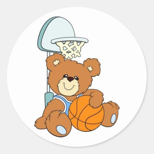 Oso de peluche del baloncesto pegatina redonda