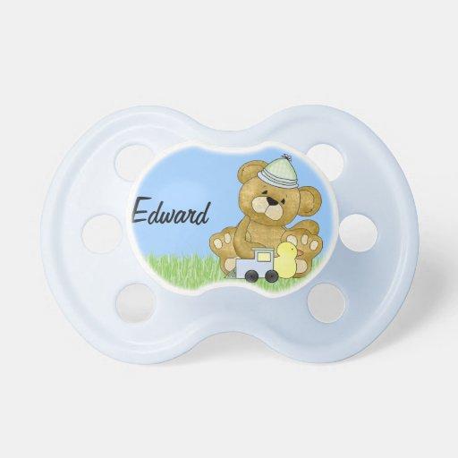 Oso de peluche del bebé a personalizar chupete de bebé