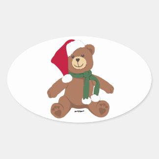 Oso de peluche del navidad calcomanías ovales personalizadas