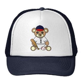 Oso de peluche lindo del muchacho del béisbol gorros