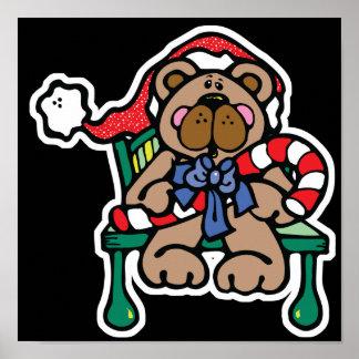 oso de peluche lindo del navidad posters