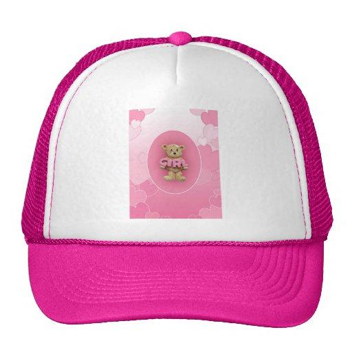 Oso de peluche rosado del chica gorros bordados