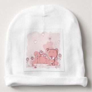 oso de peluche rosado gorrito para bebe