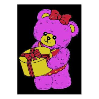 Oso de peluche rosado y amarillo oscuro para los tarjetas de visita grandes