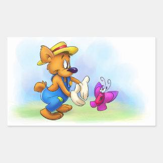 oso del dibujo animado con los pegatinas de la pegatina rectangular