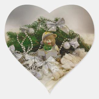 Oso del navidad pegatina en forma de corazón