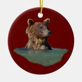 oso del tiempo del baño adorno redondo de cerámica