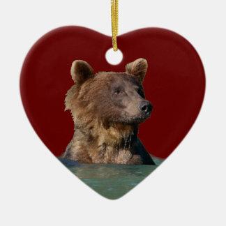 oso del tiempo del baño adorno de cerámica en forma de corazón