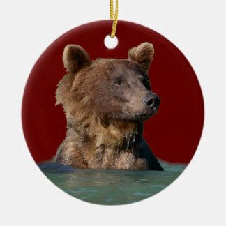 oso del tiempo del baño ornamento para arbol de navidad