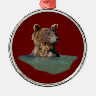 oso del tiempo del baño adorno redondo plateado