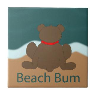 Oso del vago de la playa azulejo cuadrado pequeño