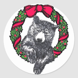oso en guirnalda etiqueta redonda