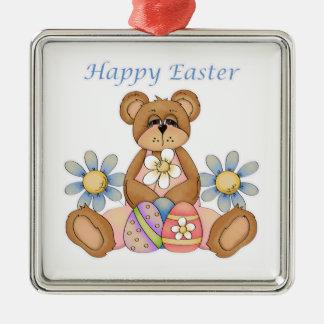 Oso feliz de Pascua con los huevos Adorno Navideño Cuadrado De Metal