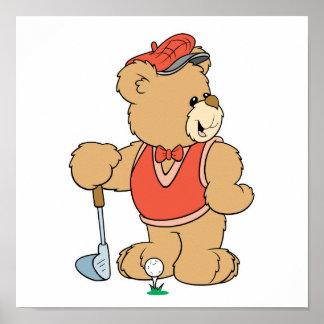 Oso Golfing lindo del golfista Póster