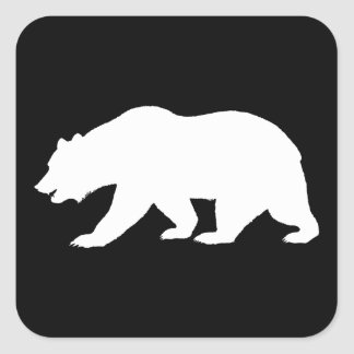 Oso grizzly pegatina cuadrada