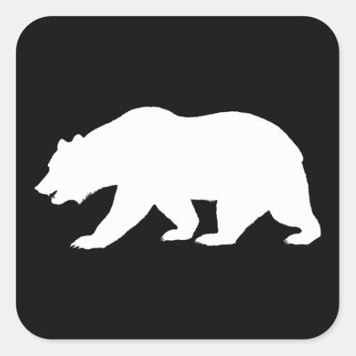 Oso grizzly calcomanías cuadradas