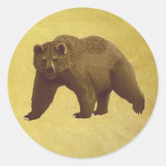 Oso grizzly etiqueta redonda