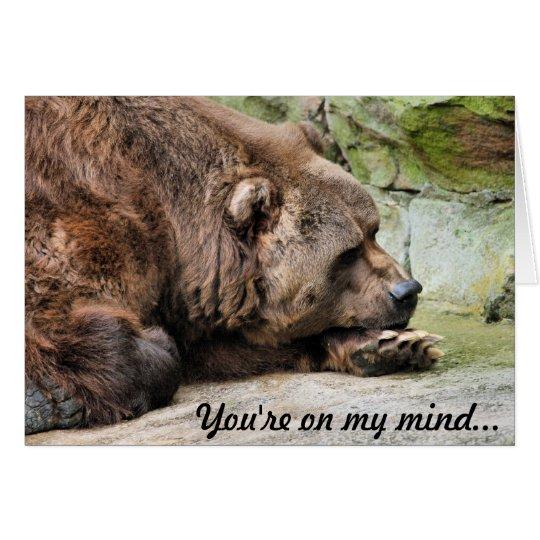 Oso grizzly triste tarjeta de felicitación