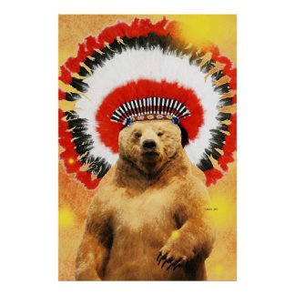 ¡Oso indio del nativo americano! Póster