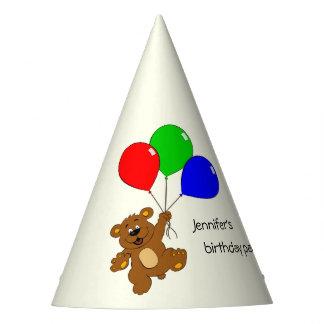 Oso lindo con cumpleaños de los niños de los gorro de fiesta