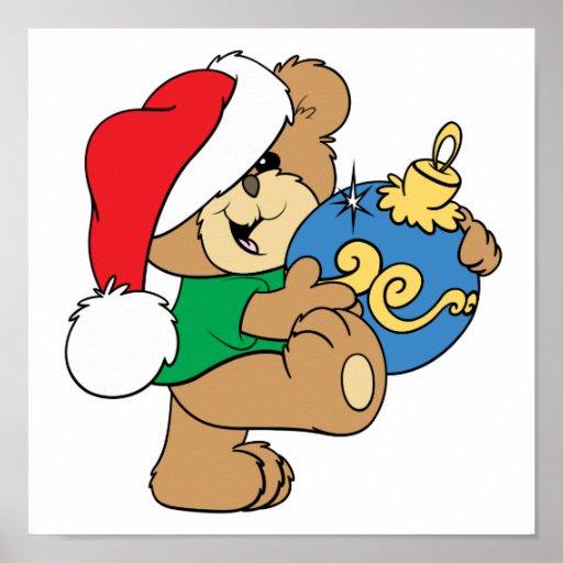 Oso lindo con el ornamento del navidad posters