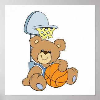 Oso lindo del baloncesto póster