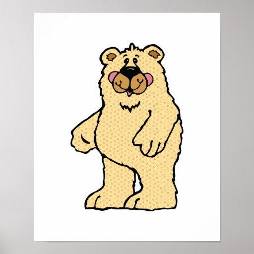 oso lindo del moreno del estilo rural posters