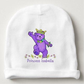 Oso lindo y flores púrpuras de la princesa peluche gorrito para bebe