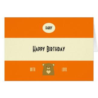 Oso personalizado del abucheo - naranja de la tarjeta de felicitación