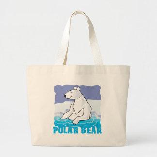 Oso polar amistoso del niño bolsa tela grande