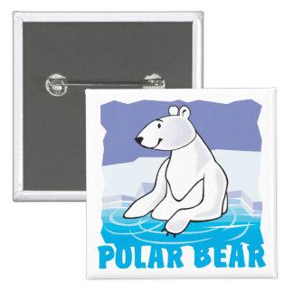 Oso polar amistoso del niño chapa cuadrada