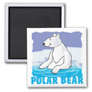 Oso polar amistoso del niño imán cuadrado