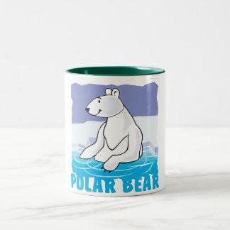 Oso polar amistoso del niño taza dos tonos