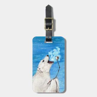 Oso polar con la melcocha tostada etiqueta para maletas