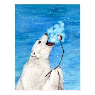 Oso polar con la melcocha tostada postal