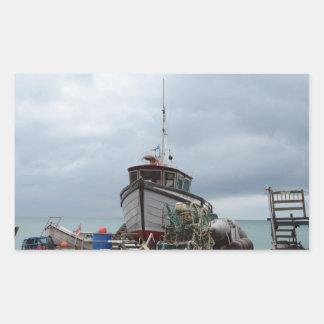 Oso polar del barco de pesca pegatina rectangular