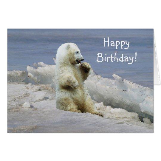 Oso polar lindo Cub y tarjeta de cumpleaños ártica