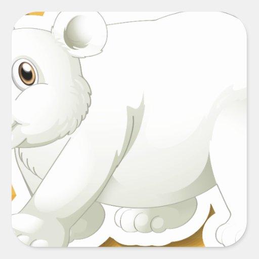 Oso polar calcomanías cuadradas personalizadas