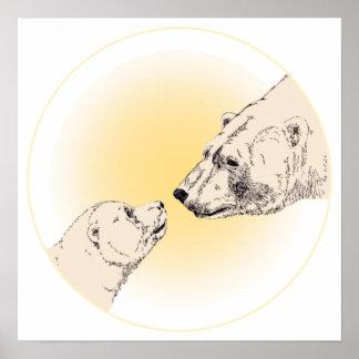 Oso polar y decoración del hogar de la fauna de la impresiones