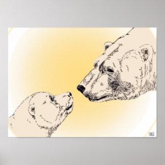 Oso polar y decoración del hogar de la fauna del p posters