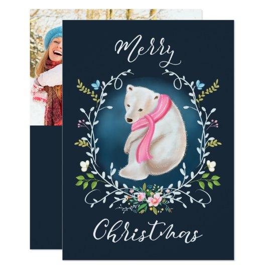 Oso polar y tarjeta de Navidad floral de la foto Invitación 12,7 X 17,8 Cm