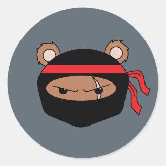 Oso rebelde Ninja Pegatina Redonda