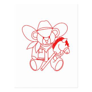 Oso Redwork del vaquero Postal
