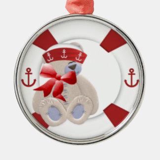 Oso rojo del marinero ornamento para arbol de navidad