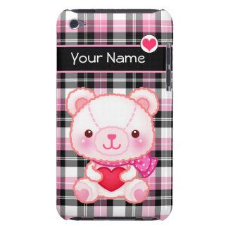 Oso rosado lindo con el corazón rojo - carcasa para iPod
