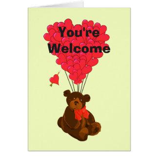 Oso y corazón románticos de peluche usted es tarjeta pequeña