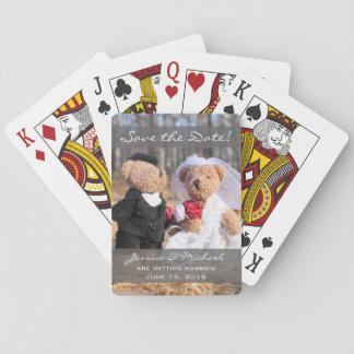 Osos de novia y del novio que casan reserva la barajas de cartas