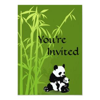 Osos de panda e invitación de bambú de la fiesta invitación 12,7 x 17,8 cm
